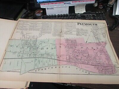 Antique - Original Plymouth  Pa Map 1873 - Vg Coal Breakers