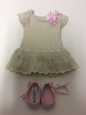 American Girl Doll Retired Sweet Spring Dress, Cream Knit, Pink Shoes