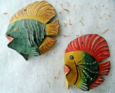 Vintage Christmas Ornaments - 2 HAND PAINTED CARVED WOOD TROPICAL FISH