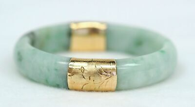 Antique 14K Yellow Gold Green Jade Hinged Bangle Bracelet with Security Clasp