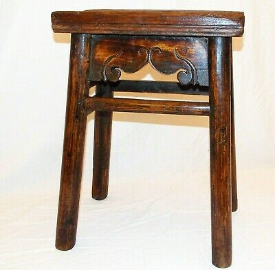 Rare Early 18th Century Carved Cedar Joined Stool