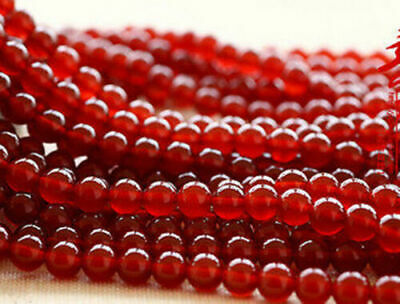 """Natural 6mm Red Ruby Jade Round Gemstone Loose Beads 15"""" AAA"""