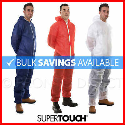 Disposable Coveralls Overalls Hood Painters Protective Boiler Suit White Blue
