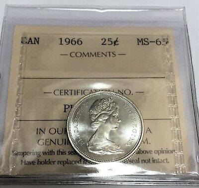 1966 25 Cents Canada  Silver Coin - Iccs Pk437  Ms65 Ms65 Ms65 Gem!