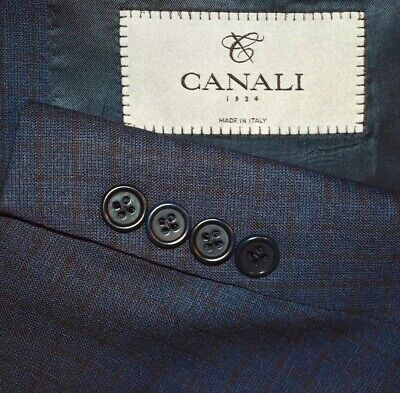 44S Canali 1934 CURRENT Navy Maroon Plaid 3 PIECE SUIT Flat Front 38