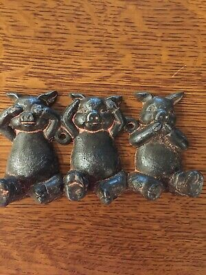 Super Cute Cast iron Pig Wall Hooks See No Evil Hear No Evil Speak No Evil
