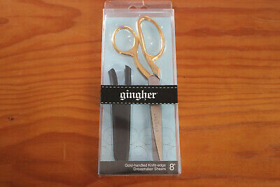 """Gingher 8"""" Gold Handled Knife-edge Dressmaker Shears G-8GS Made In Italy"""