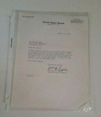 Vintage Political US Senate William Saxbe Signed Letter Dated 1970 Collectible