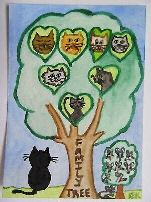 ACEO Original Watercolor Cat Kitty Feline Mouse Kitty's Family Tree No 72 by KEK
