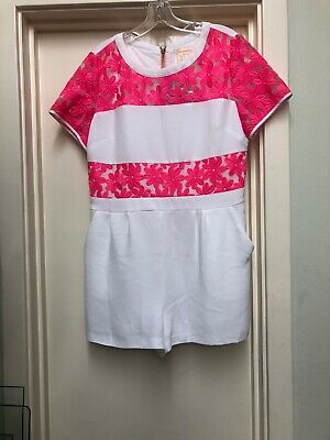 Sail To Sable Pink Poly Organza Cotton Candy Romper Size M! So Cute For Summer