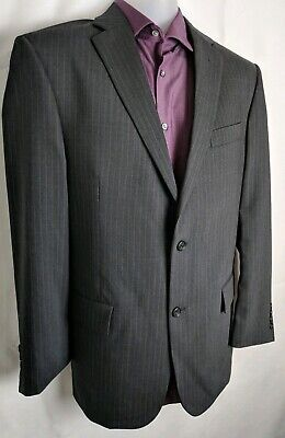 SOCIETY BRAND LTD 2 pc Suit Mens Pinstriped Charcoal Gray  Size 40R 100% WOOL