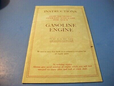 How To Start Operate & Care For Your Gasoline Engine Parts Instructions Reprint