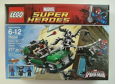Lego 76004 Marvel Spider Man Cycle Chase Retired 237 Pieces Sealed Box
