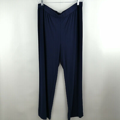 Linea by Louis Dell'Olio Moss Crepe Pants Navy 1X  A273877
