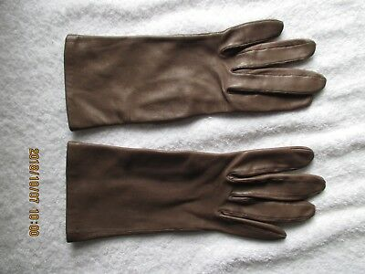 Women's Accessories Vintage Van Roalte Cabretta Brown Leather Gloves size 7M New