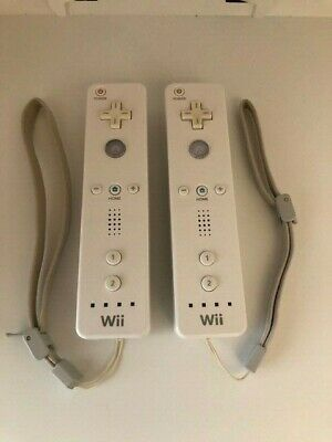 Nintendo Wii Lot 2 Remote Controllers Wiimotes RVL-003 Vinyl Covers Wrist Straps