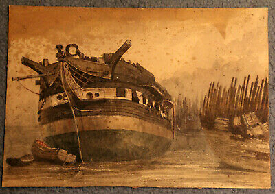 Amazing antique attic find watercolour of an old galleon, Andrew Nicholl RHA