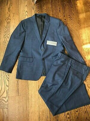 Banana Republic Tessuto Marzotto Blue Wool Suit Slim Jacket/Pant Mens 42S 32x29