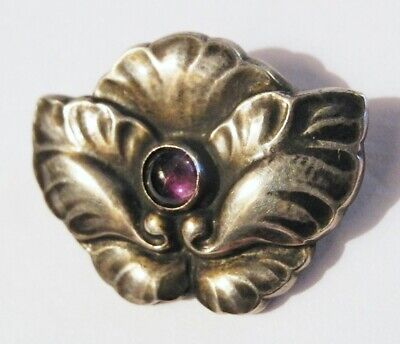 Georg JENSEN Pin G I Denmark 830 Silver Amethyst 1915 - 1930 EARLY Brooch # 107