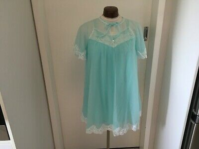 VINTAGE 60s AYPI AQUA BABY DOLL NIGHTIE BRUNCH COAT LINGERIE SET SSW mod Sz 8 10
