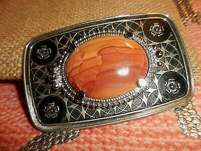 Vintage WESTERN BELT BUCKLE WITH STONE ~ SILVER & BLACK