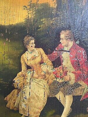 French Antique Oil Painting Lovers ~Couple Park Scene Roses Music Cabinet Door