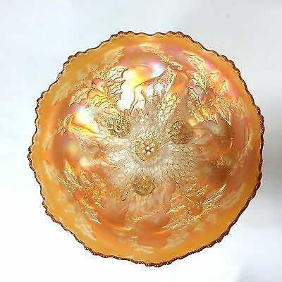 """Stag and Holly FENTON Ice Cream Shape ICS Footed Bowl 10 1/4"""" Marigold Carnival"""