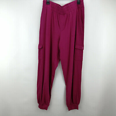 AnyBody Tall Cozy Knit Cargo Jogger Pants Berry M  A310169