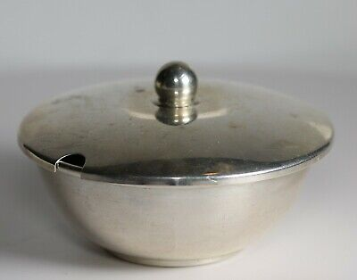 Vintage Webster Sterling Silver Lidded Mustard Trinket Bowl Unengraved 33.4Gr