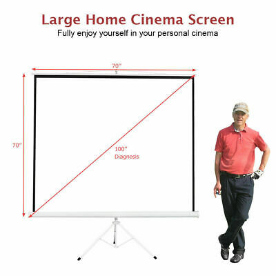 Portable Tripod Projector Screen 100'' Home Theatre 70''x70' Movie Pull Up Stand