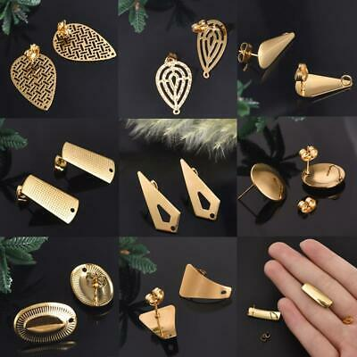 10PCS Gold Stainless Steel Earring Post Connectors DIY Earrings Making Accessory