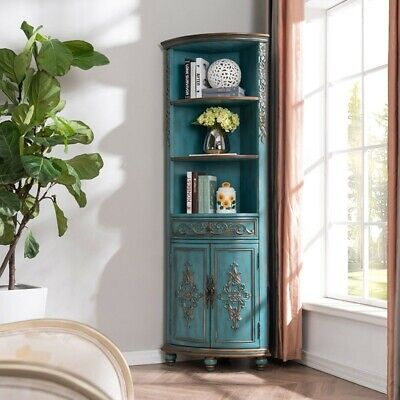 Homary Blue Tall Corner Cabinet Curio Antique Wooden Cabinet 1 Drawer 4 Shelves