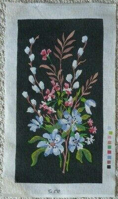 VINTAGE TAPESTRY CANVAS ONLY - PRETTY FLOWERS on BLACK - 51 x 27 cm's NO WOOL