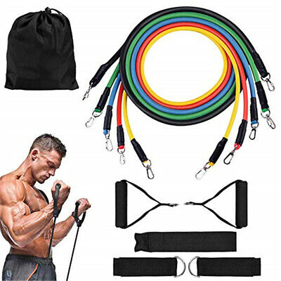 Resistance Bands Workout Exercise Yoga 11 Piece Set Crossfit Fitness Tubes Us
