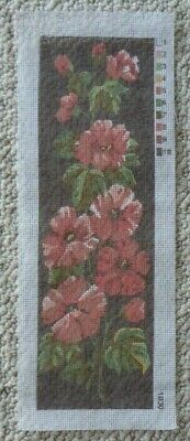 VINTAGE TAPESTRY CANVAS - PRETTY RED FLOWERS on BROWN - 45 x 14 cm's NO WOOL