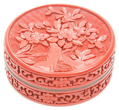 Vintage Chinese Carved Cinnabar Lacquer Round Scholar's Box Flowers Republic Old