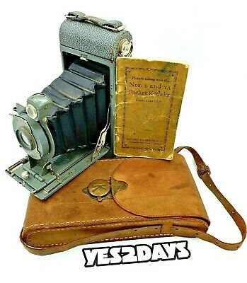 Eastman Kodak No 1a Pocket Film Camera Complete with Manual & Case Collectable