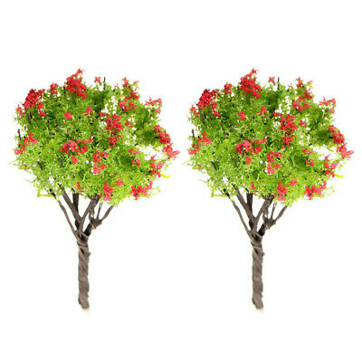 2 x Mini Artificial Red Flower Tree Plant Restaurant Home Bonsai Decor Worthy u