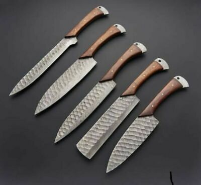 5 PC's CUSTOM HAND MADE DAMASCUS STEEL HUNTING KITCHEN KNIFE HANDLE ROSE WOOD