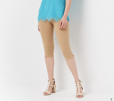 Wicked by Women with Control Pedal Pusher with Side Slits Desert Sand Petite S