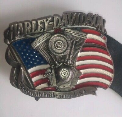 Harley Davidson Buckle 1991 Baron USA 401 including Original Harley Leather Belt