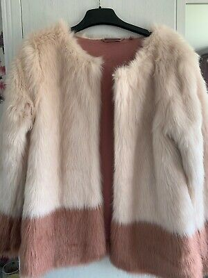 Gorgeous NEXT Girls Pink Faux Fur Jacket Coat Age 12 Years