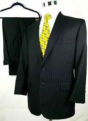 Tom James Mens Suit 44 R 36 x 31 Bespoke Executive Collection Black Pinstripe