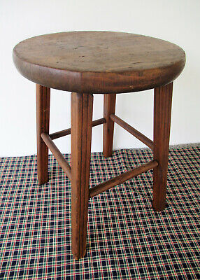 "Antique Stool, Primitive Vintage Pine Ash Wood, 18"" Tall 13"" Seat, 4-Leg Stand"