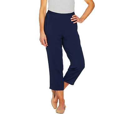 Linea by Louis Dell'Olio Pebble Crepe Pull On Crop Pants Navy Color Size S
