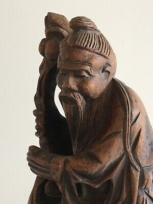 Antique * Chinese * Hand Carved WISE OLD MAN * Wooden Figure * Staff Cloak Sage