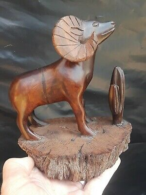 Vintage Hand Carved Wooden Ram Mountain Goat Sculpture CACTUS *VERY HEAVY WOOD*