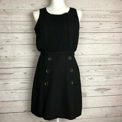 Ann Taylor Loft Womens Solid Black Sailor-Inspired Button Career Casual Dress 4P