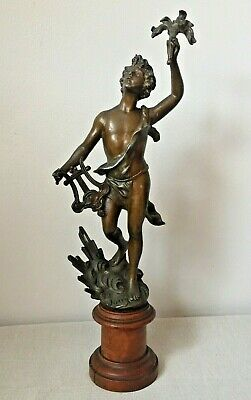 """17"""" Tall French Art Deco Le Jour Male Bronzed Spelter Statue Figurine Home Decor"""