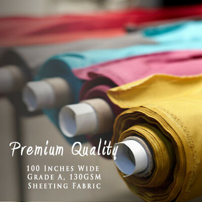 """100"""" Inches Solid Plain Poly Cotton Bed Sheeting Fabric Crafts Extra Wide Metre"""